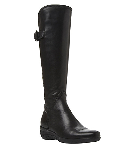 DUNE BLACK Pheobe leather knee-high boots (Black-leather