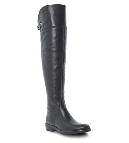 DUNE BLACK Trinnie over-the-knee buckle boots (Black leather