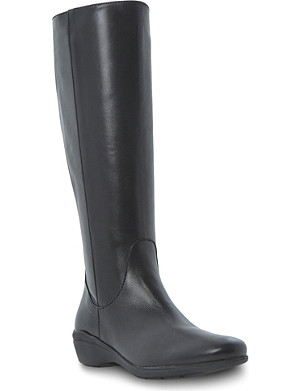 DUNE BLACK Toyah wedged leather knee-high boots