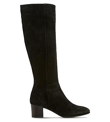 dune black tarran knee high suede boots selfridges