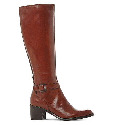 DUNE BLACK Tollie leather knee-high boots (Tan-leather