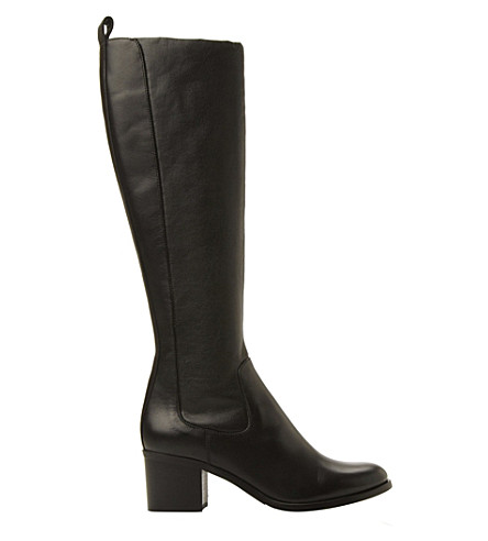 DUNE BLACK Teyla stretch leather knee high boots (Black-leather