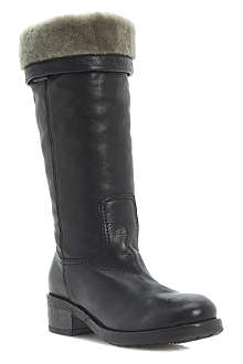 DUNE BLACK Presto faux-fur-lined calf-length boots