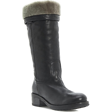 DUNE BLACK Presto faux-fur-lined calf-length boots (Black-leather