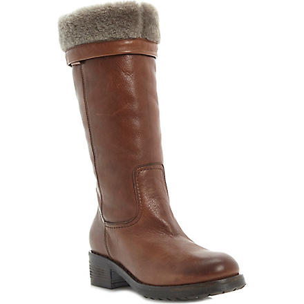 DUNE BLACK Presto faux-fur-lined calf-length boots (Tan-leather
