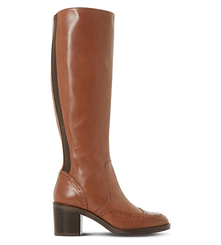 DUNE BLACK Tilbrey leather knee-high boots (Tan-leather