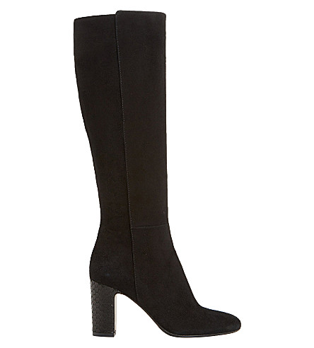 DUNE BLACK Suri suede knee-high boots (Black-suede