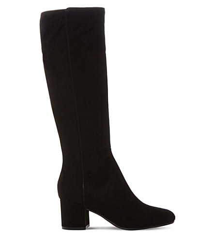 DUNE BLACK 索尔兹伯里绒面革膝高靴子 (黑麂皮绒