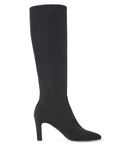 DUNE BLACK Sabian stretchy neoprene knee-high sock boots (Black-fabric