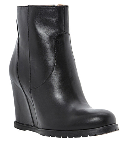 DUNE BLACK Peyron leather wedge ankle boots (Black-leather