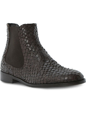 DUNE BLACK Pacca python-effect ankle boots