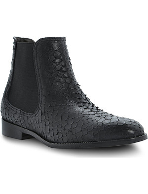 DUNE BLACK Pacca snake-print leather boots