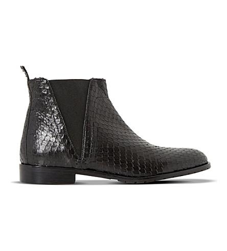 DUNE BLACK Palla reptile-print chelsea boots (Black-reptile
