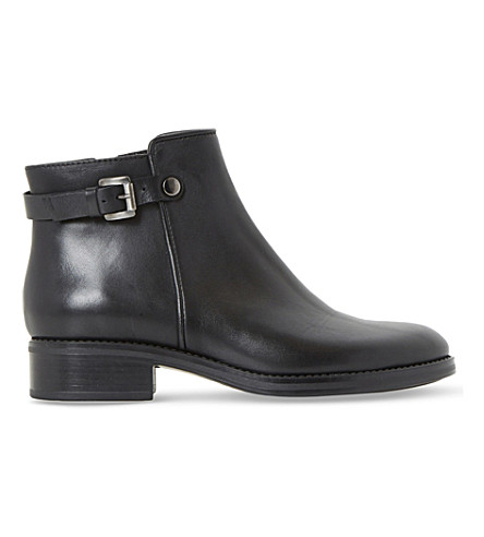 DUNE BLACK Polley buckle leather ankle boots (Black-leather