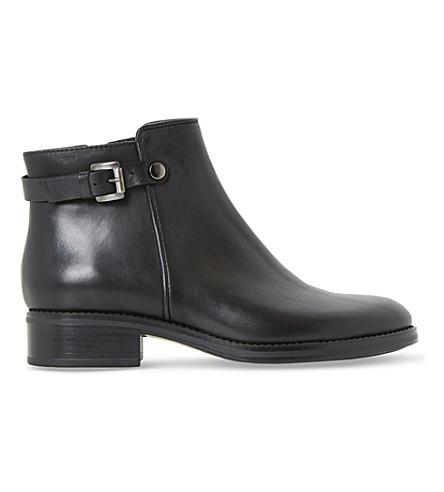 DUNE BLACK 波莉搭扣皮革踝靴 (黑色皮革