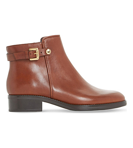 DUNE BLACK Polley buckle leather ankle boots (Brown-leather