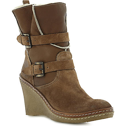 DUNE BLACK Pellan wedge boots (Beige-leather