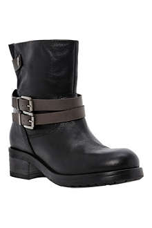 DUNE BLACK Piazza black leather ankle boots