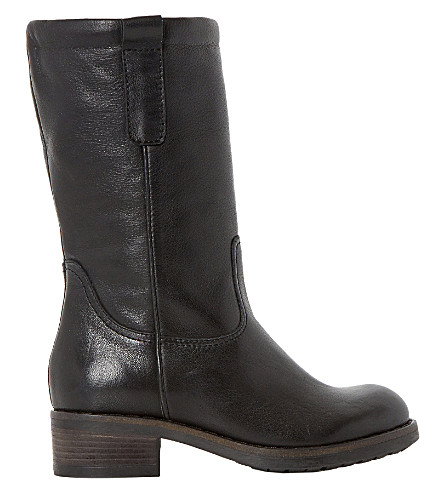 DUNE BLACK Parrie leather calf boots (Black-leather