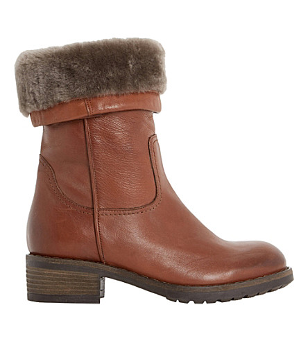 DUNE BLACK Parrie leather calf boots (Tan-leather