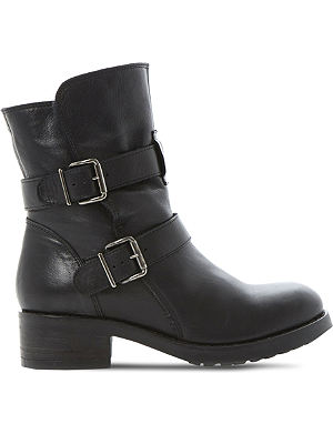 DUNE BLACK Peggy double buckle boots