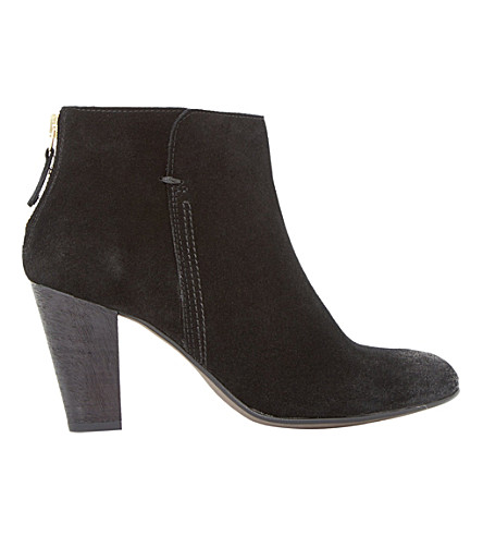 DUNE BLACK Pharah suede back zip heeled ankle boots (Black-suede
