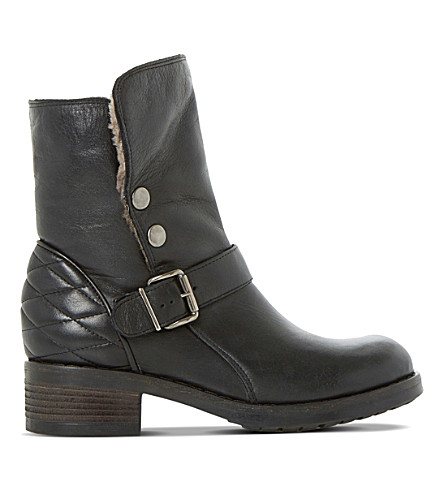 DUNE BLACK Pacho lined leather boots (Black-leather