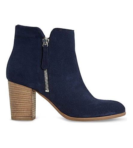 DUNE BLACK Phollie double-zip suede ankle boots (Navy-suede
