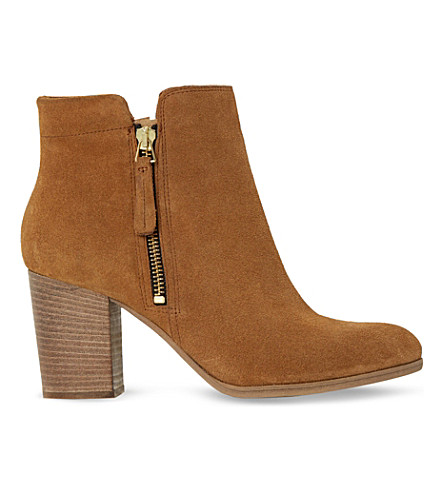 DUNE BLACK Phollie double-zip suede ankle boots (Tan-suede
