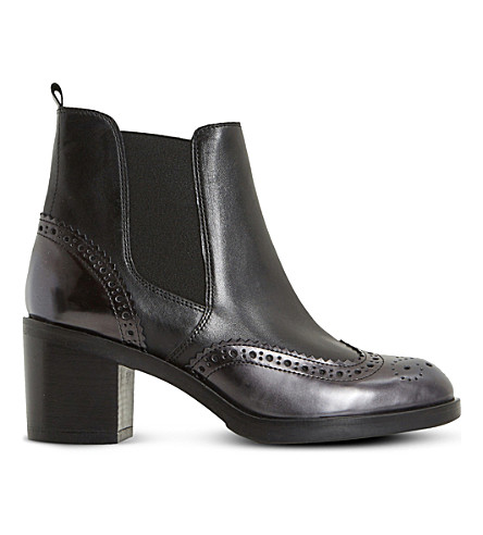 DUNE BLACK Parke leather heeled chelsea boots (Black-leather