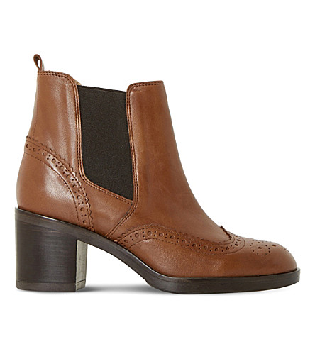 DUNE BLACK Parke leather heeled chelsea boots (Tan-leather
