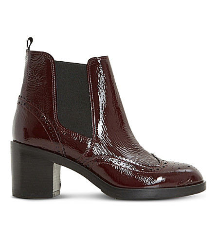 DUNE BLACK Parke leather heeled chelsea boots (Burgundy-patent