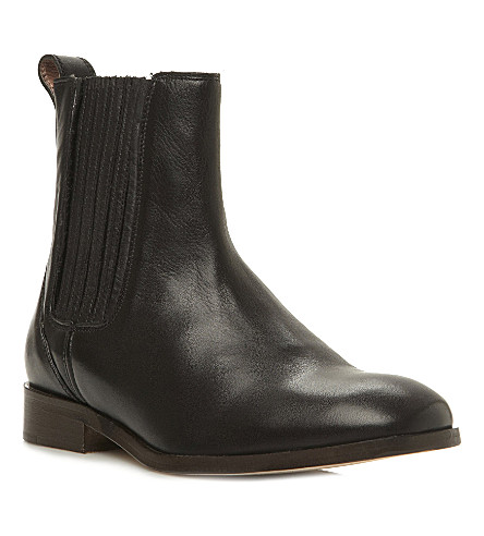 DUNE BLACK Clean Chelsea leather boots (Black-leather