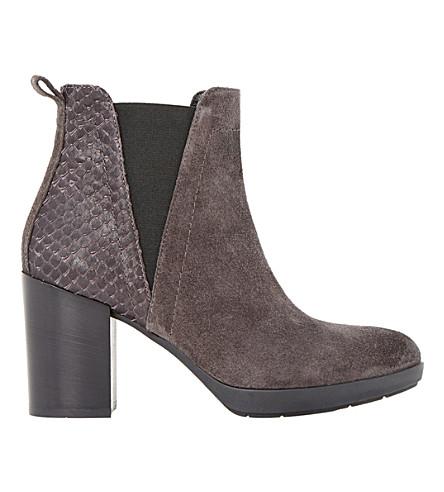 DUNE BLACK Pondo 绒面革爬行动物装饰踝靴 (灰色麂皮绒