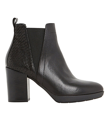 DUNE BLACK Pondo leather reptile trim ankle boot (Black-leather
