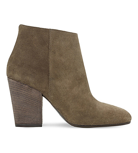 DUNE BLACK Patina suede heeled ankle boots (Mink-suede