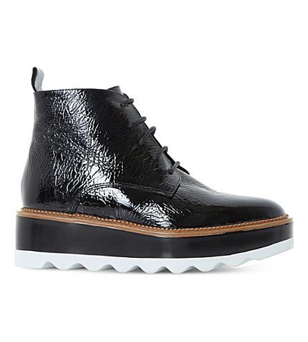 DUNE BLACK Prynce patent flatform boots (Black-patent
