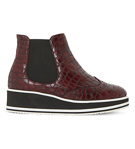 DUNE BLACK Patrol crocodile-embossed leather chelsea (Burgundy-reptile