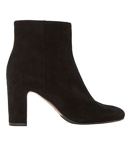 DUNE BLACK Ophira suede almond toe ankle boots (Black-suede