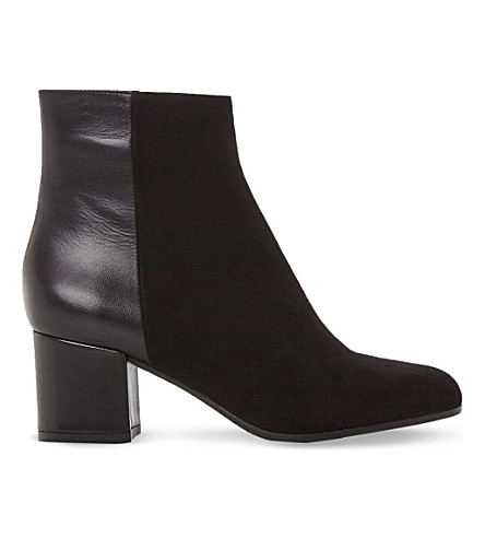 DUNE BLACK Orsen leather and suede ankle boots (Black-leather
