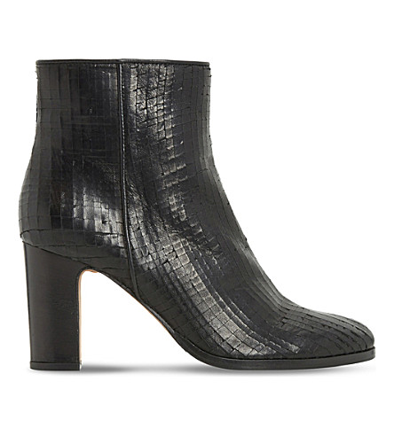 DUNE BLACK Ozzy textured ankle boot (Black-leather