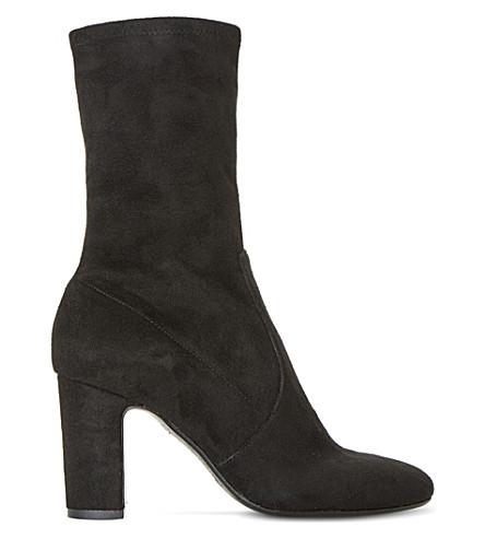 DUNE BLACK Osborne stretchy heeled sock boots (Black-suede
