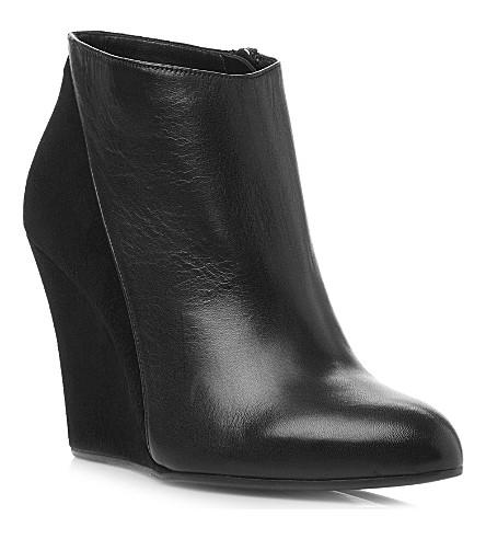 DUNE BLACK Sala leather wedge ankle boots (Black-leather