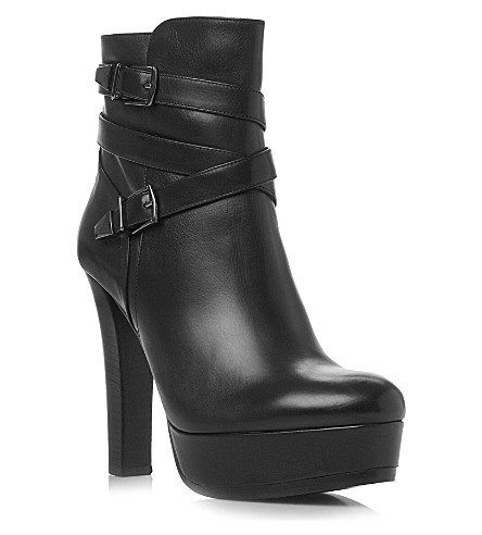 DUNE BLACK Leather platform ankle boots (Black-leather