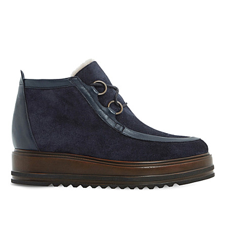 DUNE BLACK Parla suede ankle boots (Navy-suede
