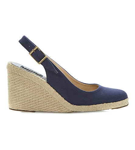 DUNE BLACK Imperia D wedge espadrilles (Navy-canvas
