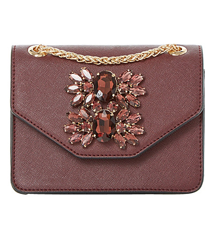 DUNE Samia mini jewelled shoulder bag (Berry-plain synthetic