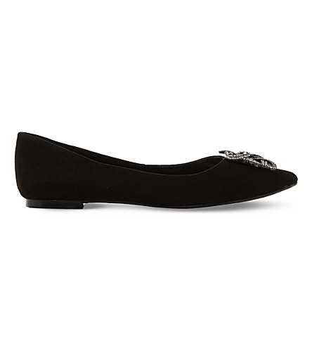 DUNE Briela brooch-trim suede flats (Black-suede