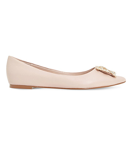 DUNE Briela brooch-detail leather courts (Blush-leather