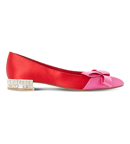 DUNE Bowen satin triple bow ballet flats (Red